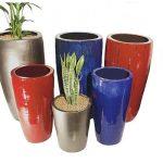 Colourful fibreglass planters