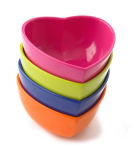 Stacking heart ice cream bowls
