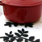 Pretty leaf cast iron trivet