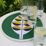 Contemporary lemon design round tray