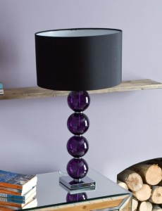 Purple stacked ball base lamp