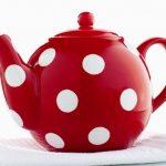 Red and white polka dot tea pot