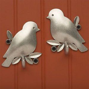 Pewter bird hooks