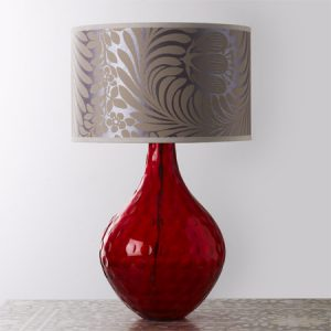 Red faceted glass lamp base from Graham and Green