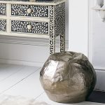 Pewter metallic stylish pouffe