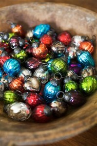 Fill a bowl with Christmas baubles