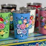 Colourful Kashmiri handpainted enamel beakers
