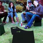 Fold up low garden seat