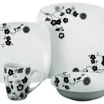 Oriental black flower porcelain dinner set