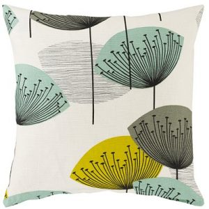 Aqua blue dandelion clock cushion