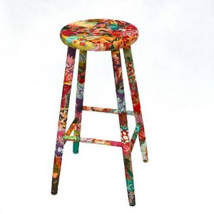 Funky fabric hand crafted decoupage stool