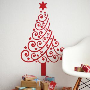 Modern xmas tree wall decal