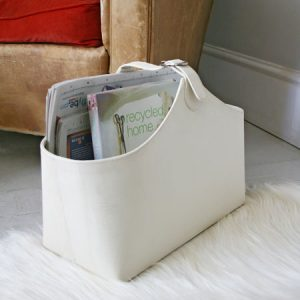 Faux snakeskin magazine holder basket