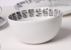 White china crisp snack bowl