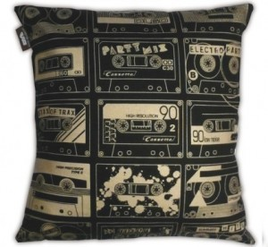 Retro cassette tape design cushion