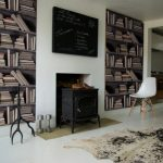 Create a feature wall with bookshelf wallpaper