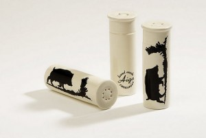 Ceramic earthenware salt and pepper set