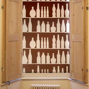 Brown and cream bottle design window blind
