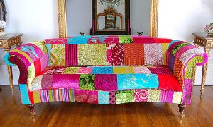 Designer contemporary patchwork sofa
