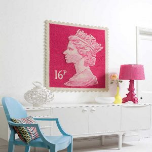 Pink stamp rug wall art