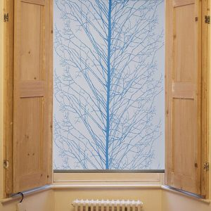 Blue tree design roller blind