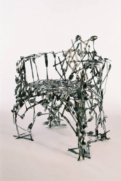 Unusual wacky weirdd chair handmade from cutlery