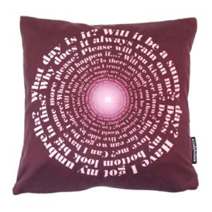 Uk questions designer cushion by Judy Holme