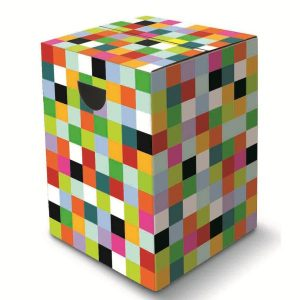 Multi coloured mosaic cardboard stool