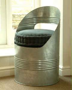 Galvanised steel beer barrel design chair from Garden Trading