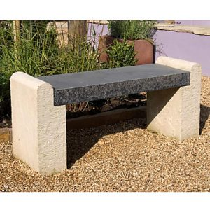 Minimalist stylish sleek garden stone bench seat