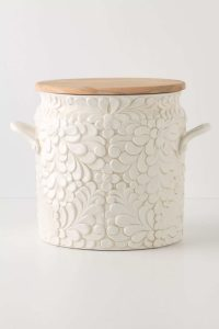Decorative white bread bin biscuit jar