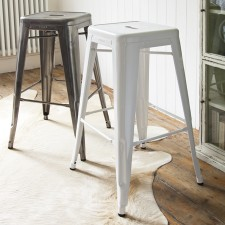 Contemporary shiny metal bar stool