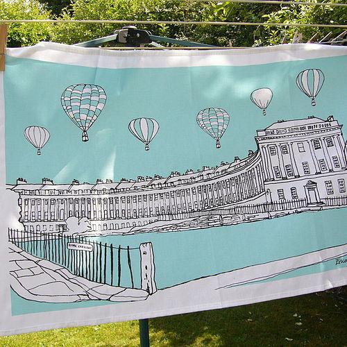 Emmeline Simpson Bath Royal Crescent tea towel