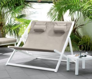 Contemporary double garden deck chair