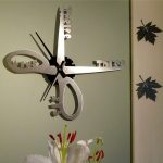 Stainless steel scissors wall clock