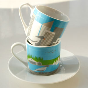 Contemporary espresso coffee cups