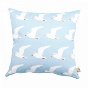 Blue and white contemporary seagull bird cushion