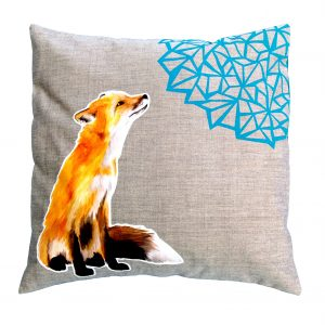 Modern fox design cushion