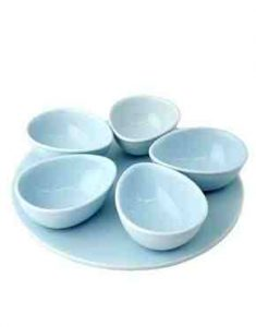 Set of blue party entertaining serving bowls