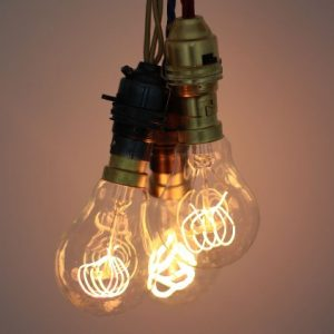 Designer carbon filament loop light bulb