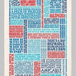 Typographic tongue twisters tea towel