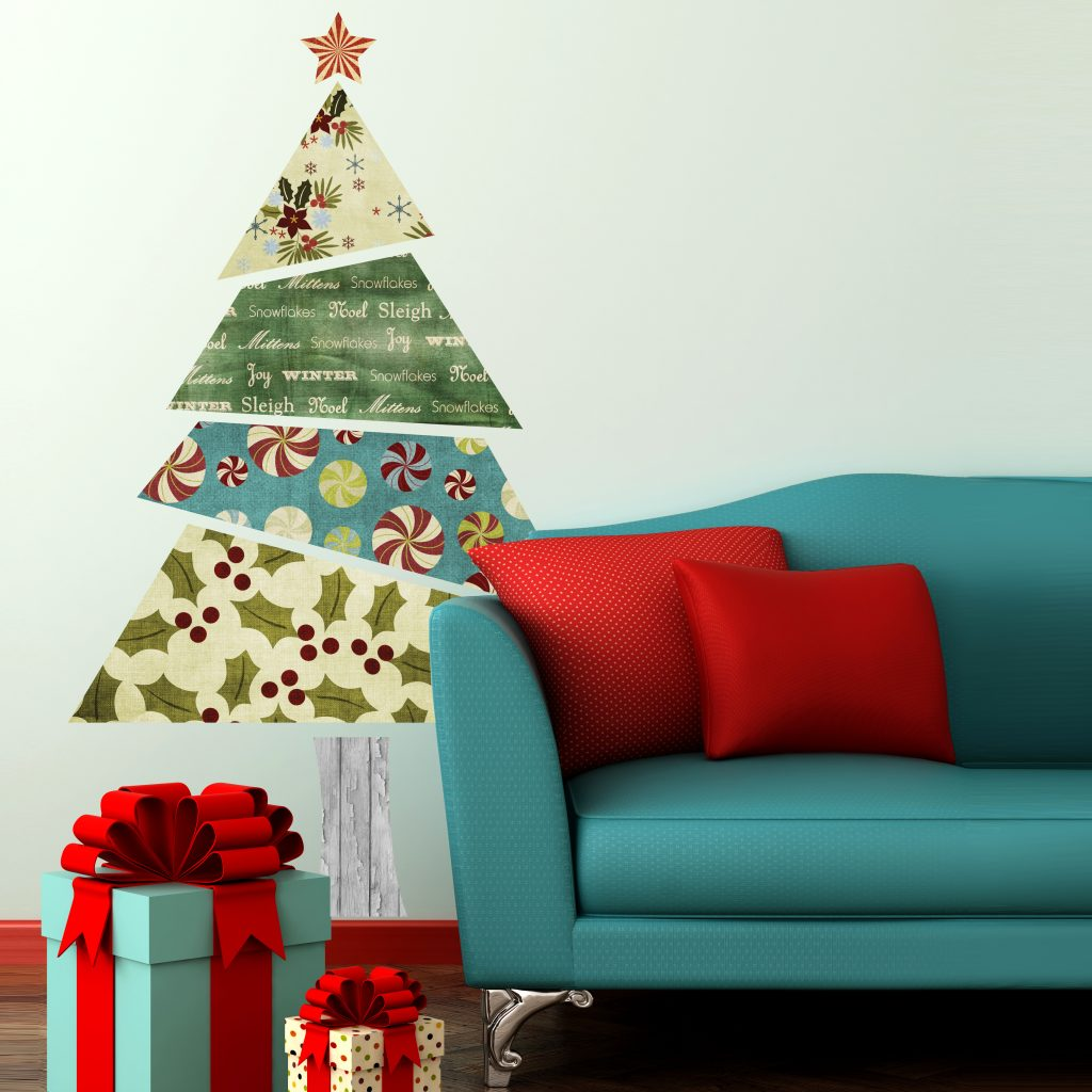 Be different this year, with a fabric patterned Christmas tree wall sticker