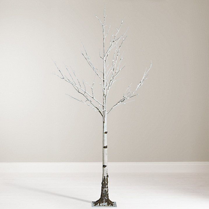 Gorgeous pre-lit mossy birch white Christmas tree. Just right for a contemporary home