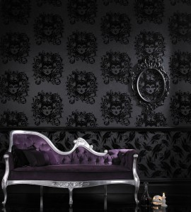 Luxurious black flock gothic wallpaper