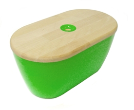 Funky green bread bin and bread board
