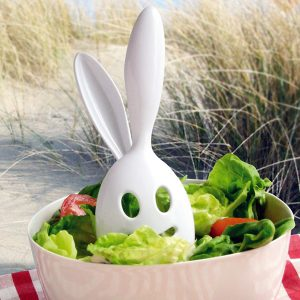 Designer bunny rabbit salad servers