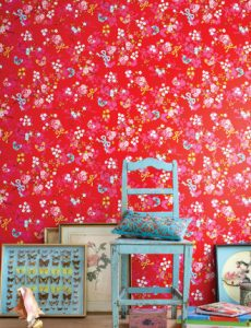 Bright red floral wallpaper