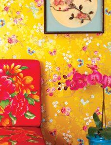 Brian Yates yellow Chinese Roses wallpaper