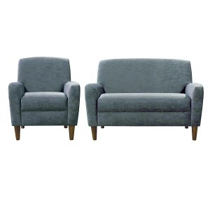 Contemporary style sofa and chair in blue