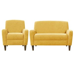 Contemporary yellow sofa and chair